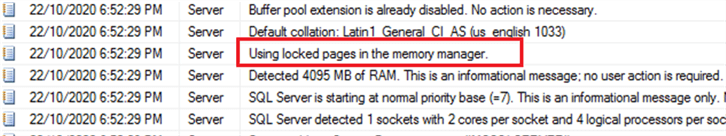 sql server error log message