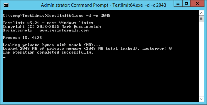 Simulate Memory Leak using Testlimi Launch a command prompt and run as Administrator. Then execute the command Testlimit64.exe -d -c 2048