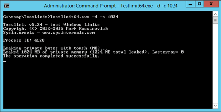 Simulate Memory Leak using Testlimit Launch a command prompt and run as Administrator. Then execute the command Testlimit64.exe -d -c 1024