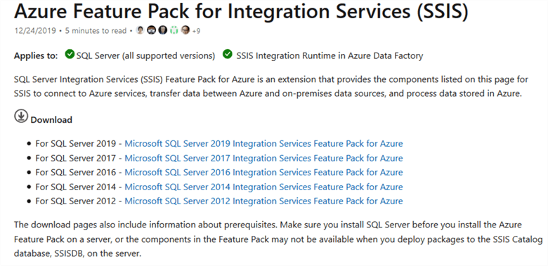 Download Azure feature pack for the Integration Services