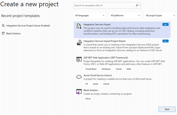 Create a new SSIS package for Azure Blob Upload