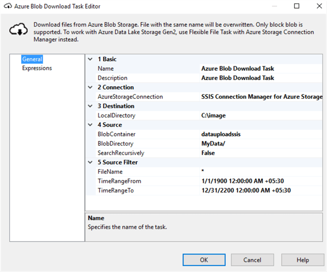 configuration for the Azure Blob Download task