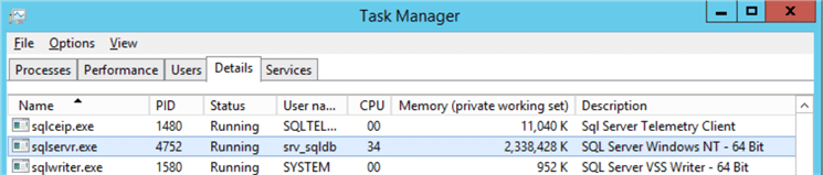 Task Manager without LPIM sqlservr.exe process shows the full SQL Server used memory which is 2.3 GB
