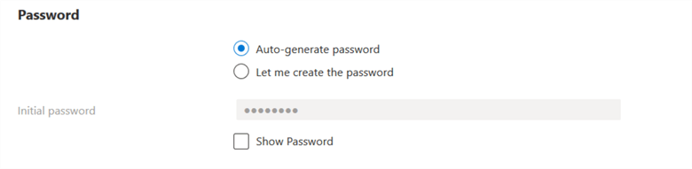 azure new user password
