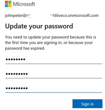 update azure password