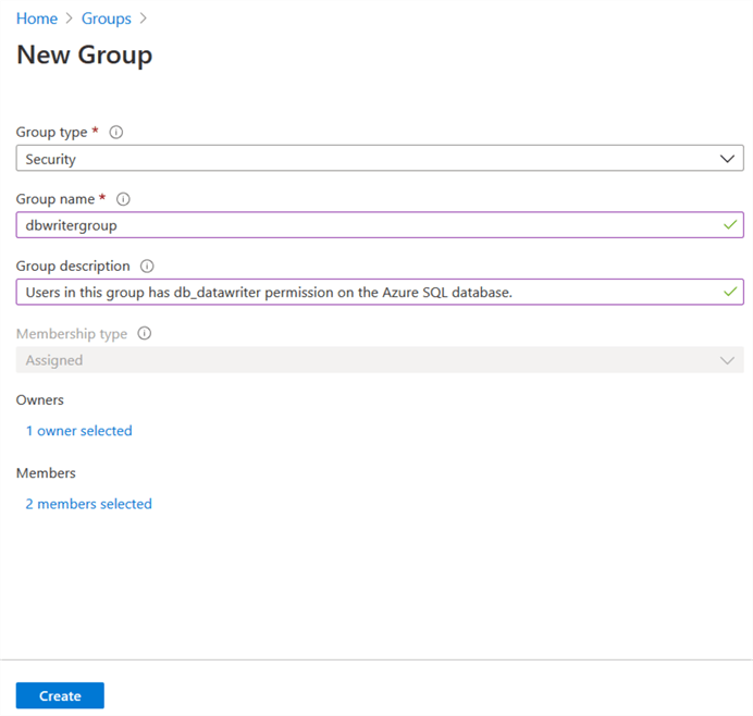 new azure group