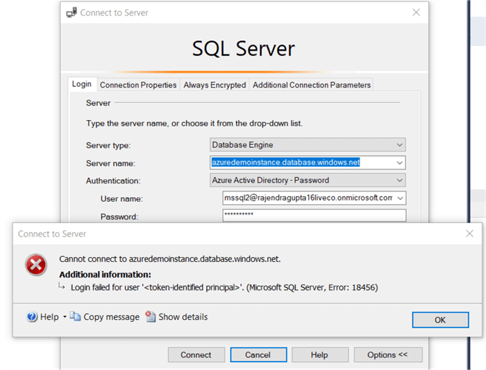 connect to sql server error