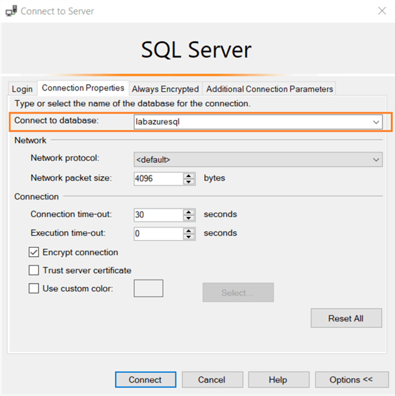connect to sql server specific database
