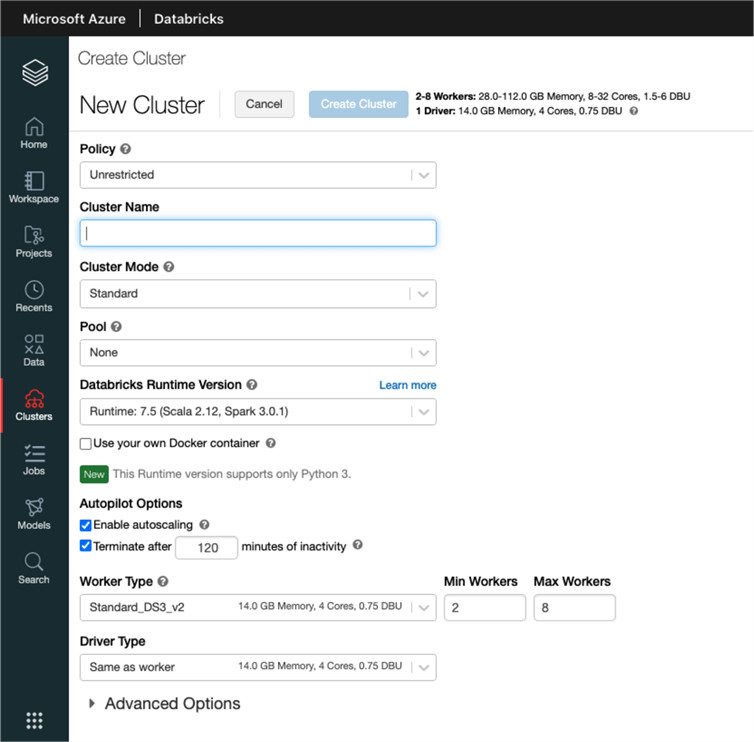 Shows the user interface to create a new cluster in Databricks.