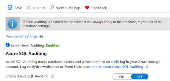 Enabled Server level auditing