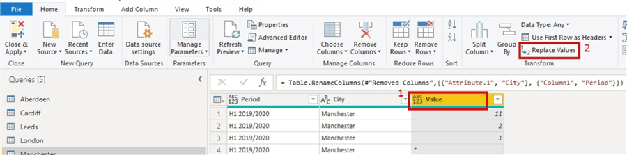 Snapshot showing how to replace values in a column in a table