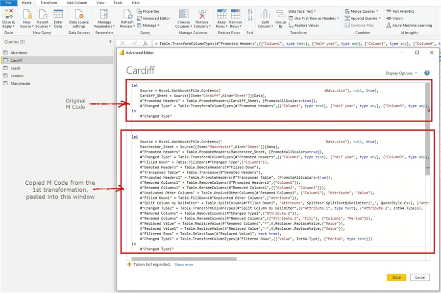 Snapshot showing how to manipulate the generated M queries 1