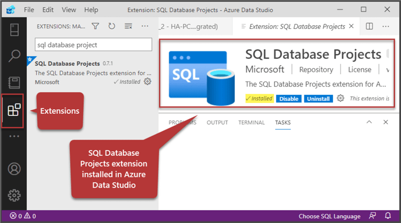 SQL Database Projects extension installed