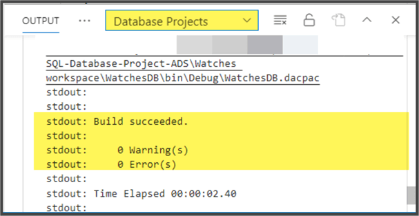 SQL Database Project successful Build