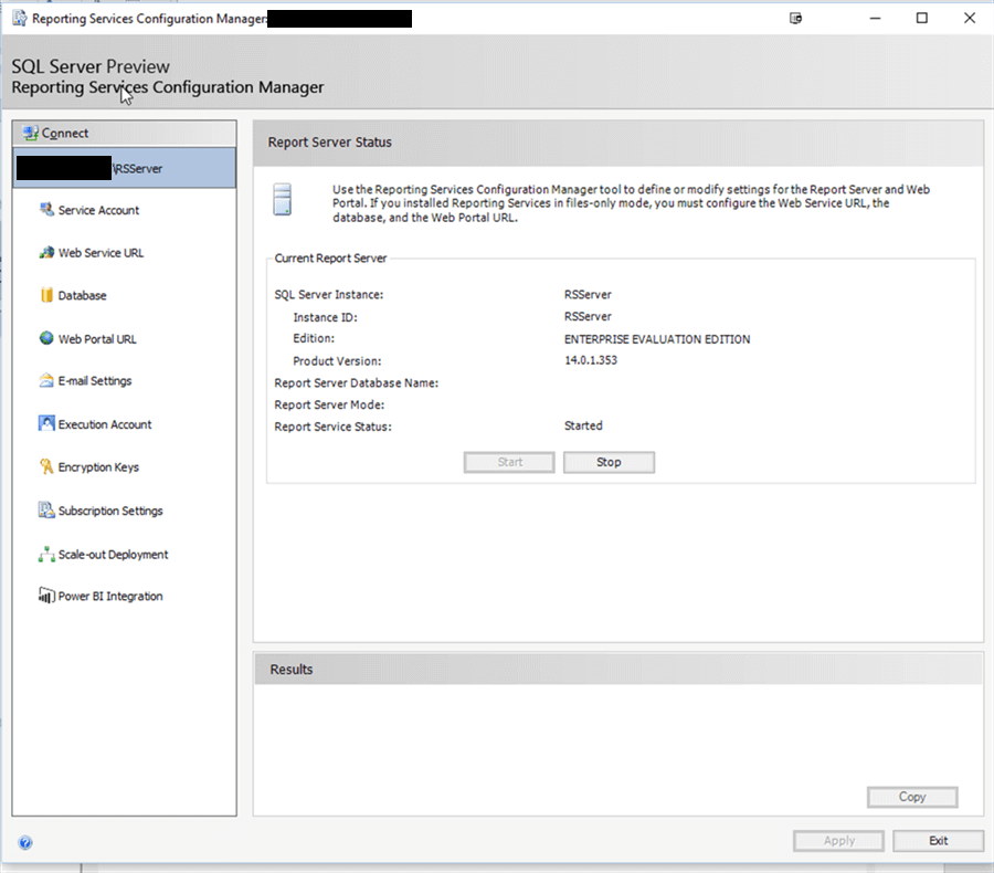 SSRS Configuration Manage - Description: Configuration Manager for SSRS Status screen