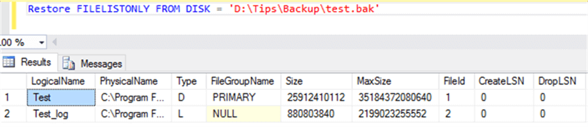 Check file list from backup file - Description: Cheking the files from DB backup