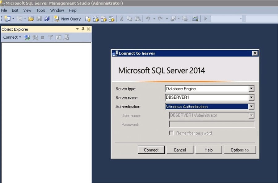connect to server in SQL Server Management Studio