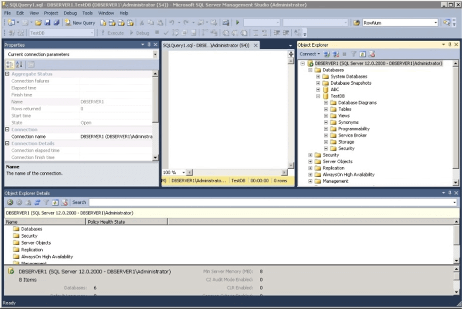 sql query in SQL Server Management Studio