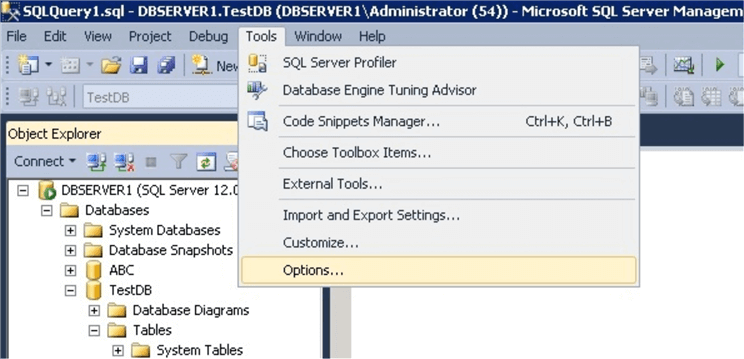 sql server options in SQL Server Management Studio