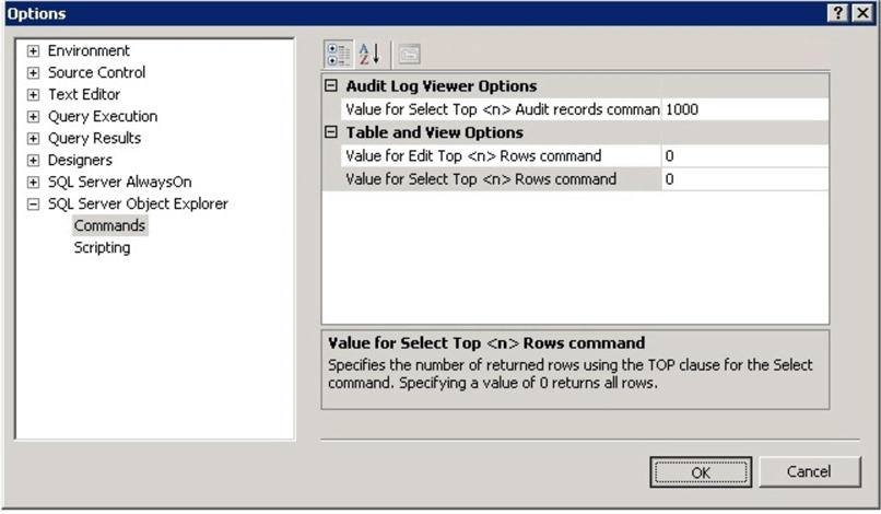 audit log viewer options in SQL Server Management Studio