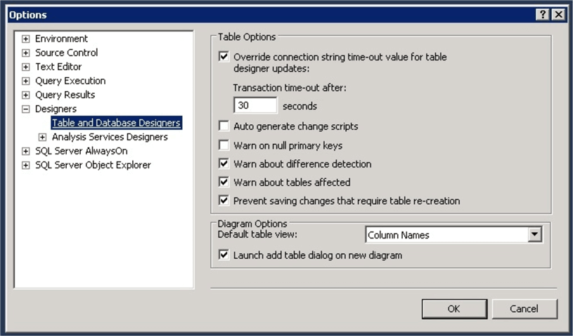 table and database designers in SQL Server Management Studio