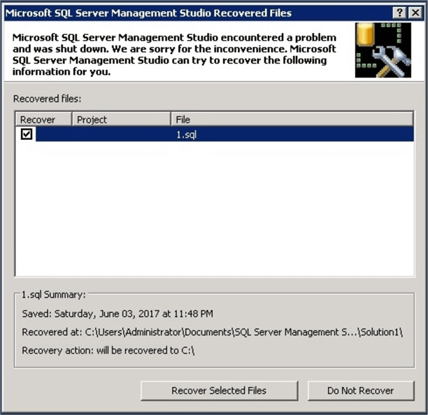 SQL Server Management Studio Recovered Files