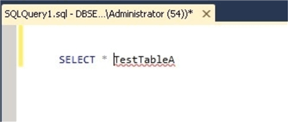 test table a with the FROM word deleted