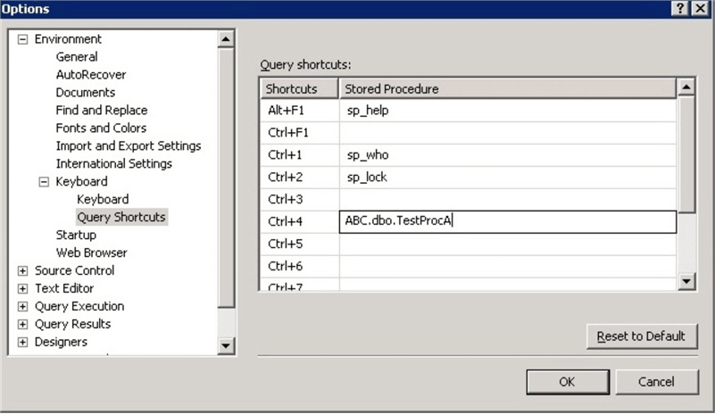 SQL Server Management Studio Query Shortcuts