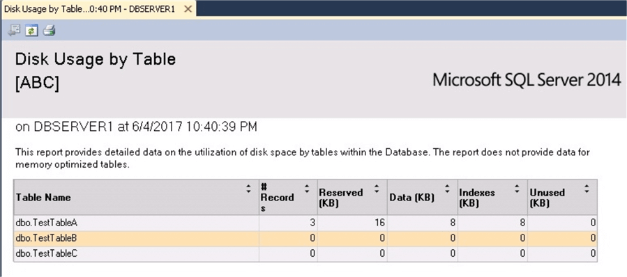 SQL Server Management Studio Disk Usage by Table Report