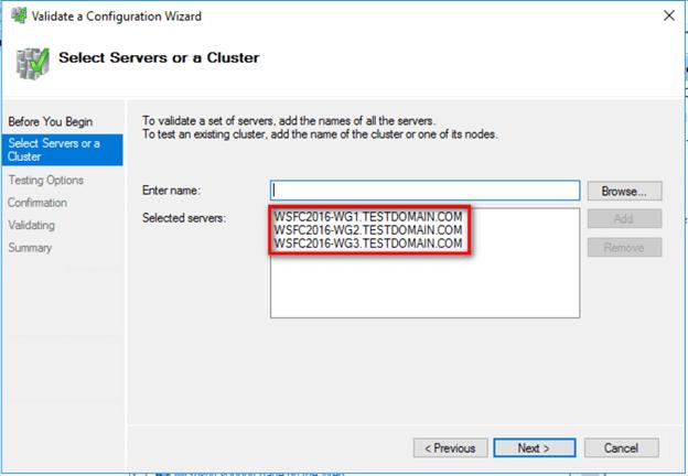 sélectionner un serveur ou un cluster