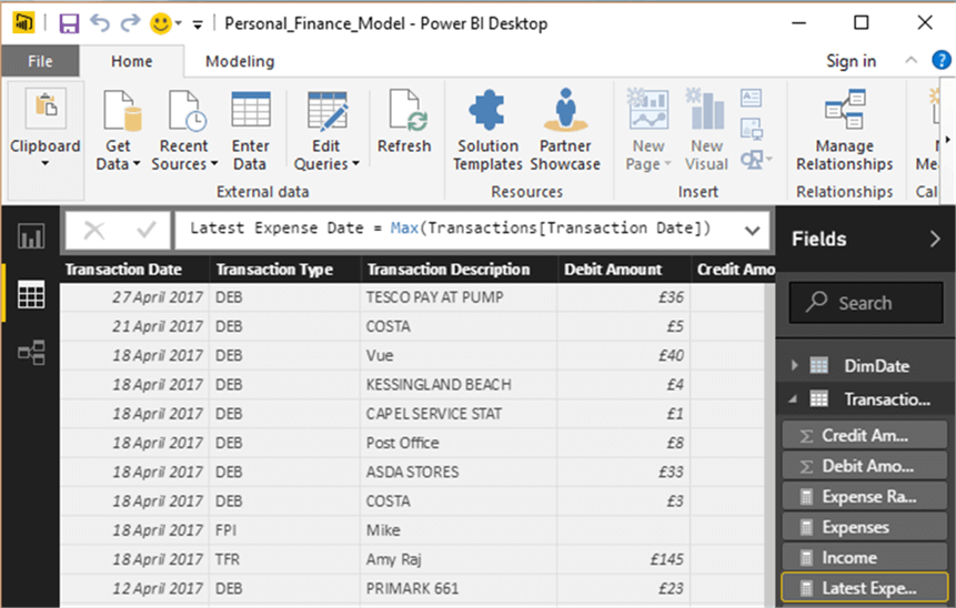 Analyzing Personal Finances using Power BI