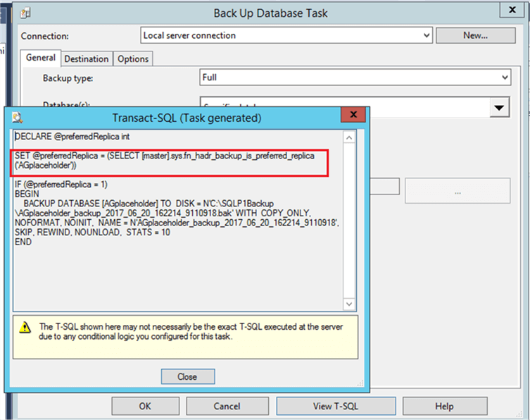 Back Up Database Task - Description: T-SQL in Back Up Database Task showing checks for preferred replica