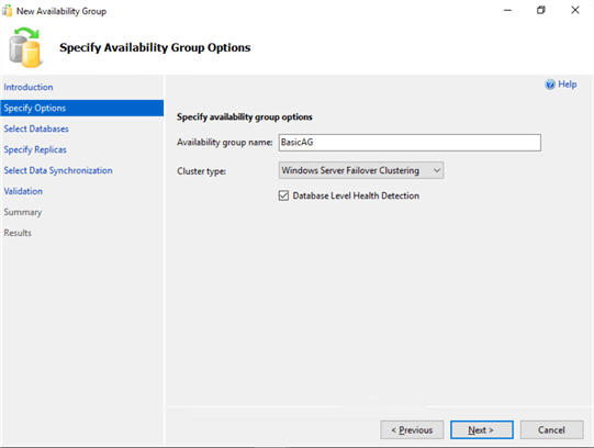 specify availability group options