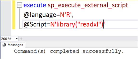 R External Package Script - Description: Successful execution of R external package from T-SQL