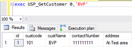 execute procedure USP_GetCustomer - Description: The Procedure is executed on second time with different parameters