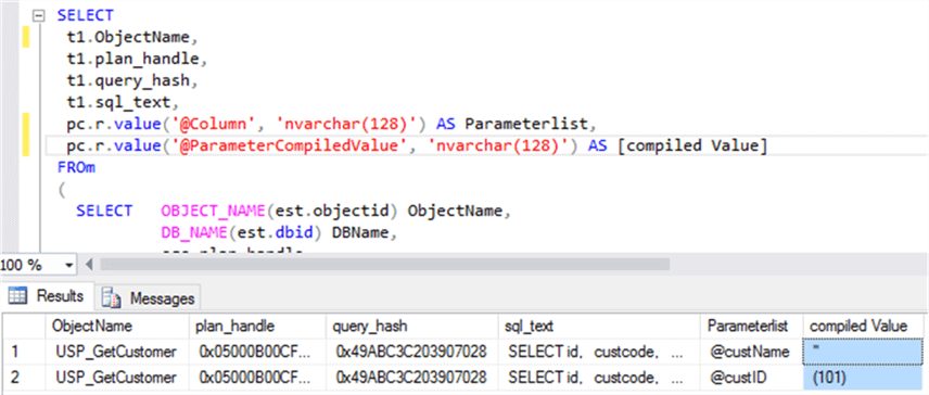 Executed prepared query in mytest DB - Description: I have prepared query for get compiled parameter value and executed it