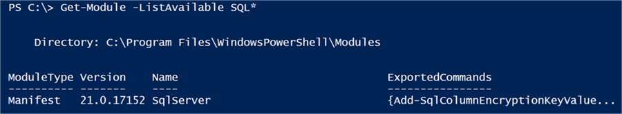 Showing the SqlServer module is now available - Description: The best location to store the SqlServer module is in the C:\Program Files\WindowsPowerShell\Modules\ directory.