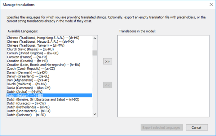 select language for translation