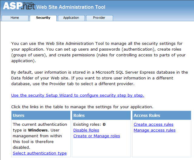 web site administration tool