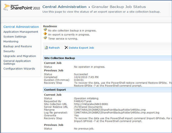 Exporting and Importing SharePoint 2010 Content