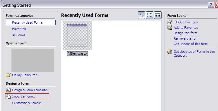 recently used forms