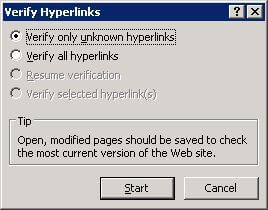 Verify hyperlinks dialog with options to verify unknown or all links