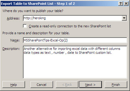 export table to sharepoint