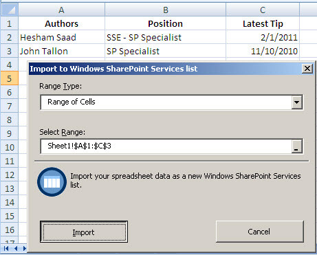 import to windows sharepoint services