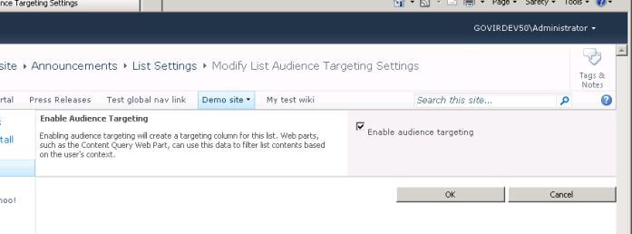 Setting to enable audience targetting on a list