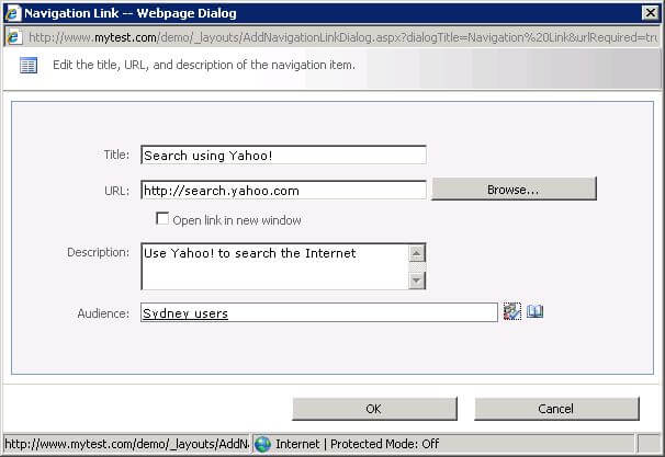 Dialog to define a new navigation link