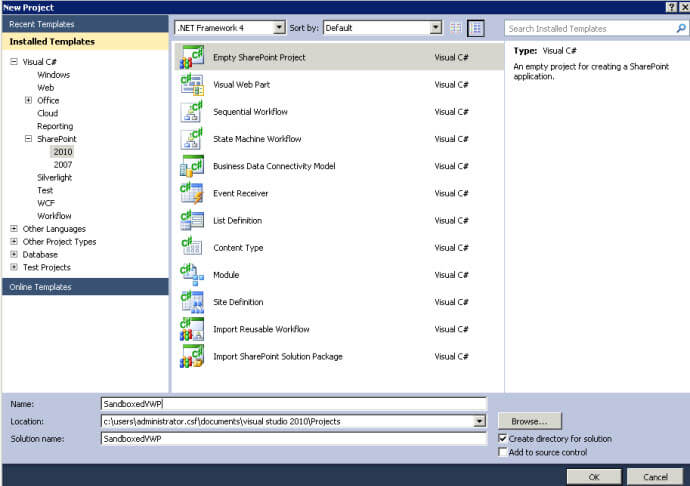 Creating SharePoint 2010 Visual WebParts - Part 2 - Sandbox Solutions