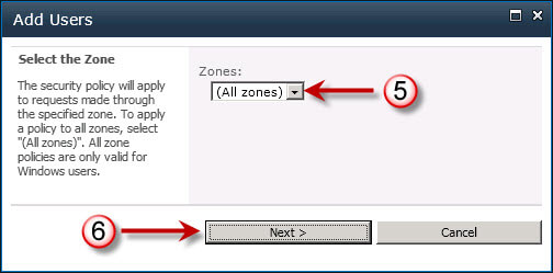 Select User Policy Zone