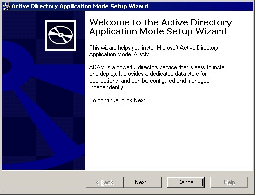 Active Directory Application Mode Setup Wizard