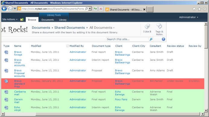 Document library view in SharePoint showing columns